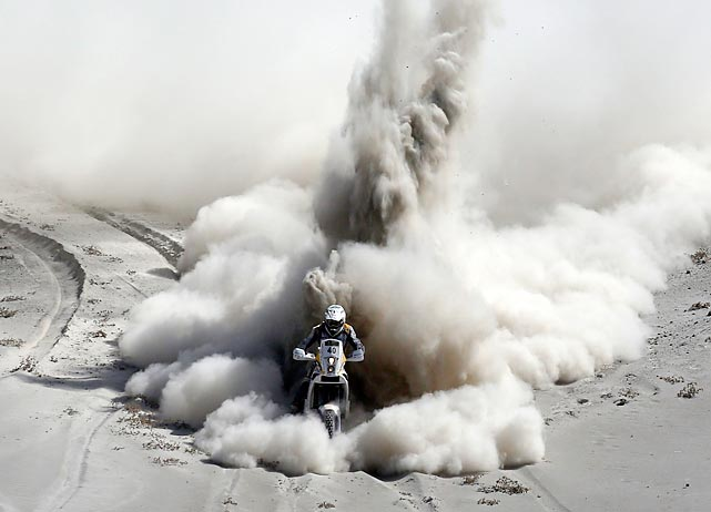 Riaan Van Niekerk leaves quite a wake as he rides his KTM during the fifth stage of the 2013 Dakar Rally. That stage took the South African and the rest of the riders from Arequipa, Peru, to Arica, Chile, as part of the Dakar Rally's race down the western coast of South America.