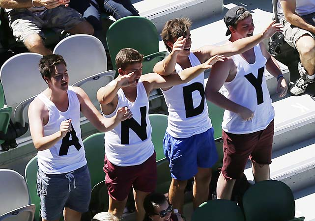 A few Murray fans watch his debut in Melbourne with delight.