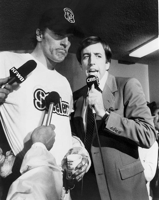Brent Musburger interviews a victorious Jack Lambert in the Steelers locker room after Super Bowl XIV. Lambert's Steelers defeated the Los Angeles Rams 31-19.