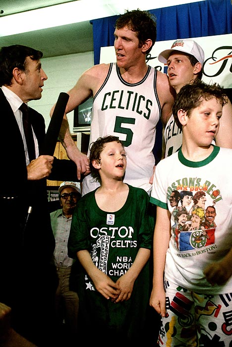 Brent Musburger interviews Bill Walton and Danny Ainge after the Boston Celtics wrapped up the 1986 NBA Championship in Boston.
