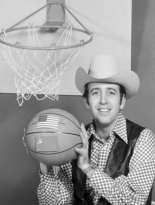 Musburger dons a cowboy getup as he hosts the Russian-American basketball special in 1973.