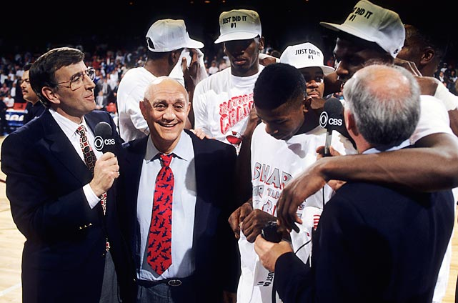 Musburger interviews a happy Jerry Tarkanian after his UNLV squad beat Duke to win the 1990 NCAA basketball championship.