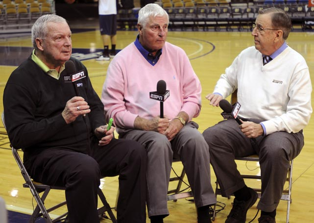 Digger Phelps and Bob Knight sit alongside Brent Musburger courtside at Notre Dame before a 2009 matchup between the Fighting Irish and Louisville.