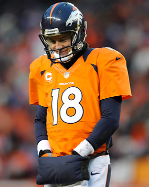 The loss to the Ravens Saturday dropped Peyton Manning's record in the playoffs to 9-11.