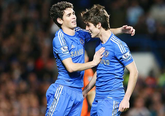 Lucas Piazon (right) celebrates with Oscar after Oscar scored a penalty in a December match.