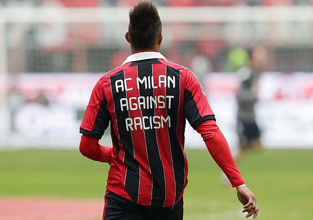 Kevin-Prince Boateng wars an anti-racism message on his jersey before a recent AC Milan match.