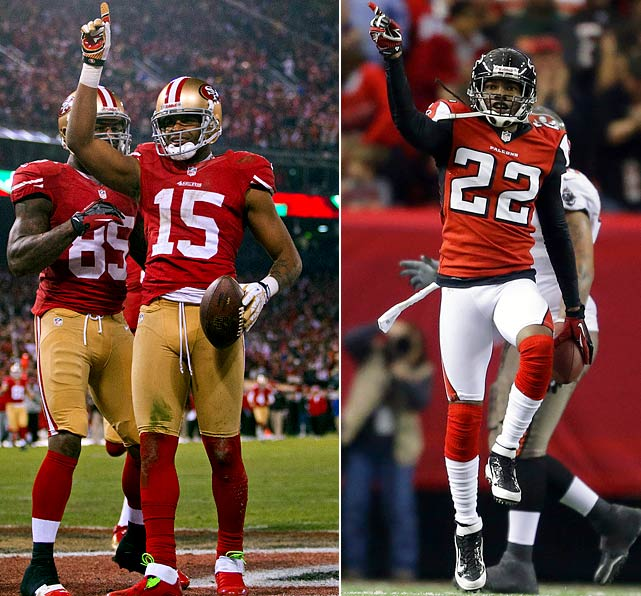"Last year, Crabtree was surrounded by questions of being a ""bust"" after catching one pass for three yards in the NFC Championship Game. Now, he is Colin Kaepernick's favorite target, and the combo will be difficult for the Falcons' secondary to contain. Crabtree just missed setting a career high against the Packers, reeling in nine catches for 119 yards and two touchdowns. Asante Samuel and company effectively limited Russell Wilson in the first half of last week's divisional playoff game, but the Seattle rookie set a franchise playoff record with 385 passing yards by the end of the game."