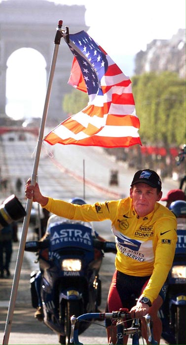 Lance Armstrong won his first Tour de France, beating second place finisher Alex Zulle by seven minutes and 37 seconds.