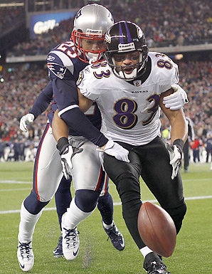 Sterling Moore's clutch pass breakup on a would-be touchdown catch by Lee Evans helped send the Patriots to Super Bowl XLVI.