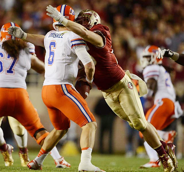 Thirteen sacks and 18 tackles for loss, best and second-best in the ACC, respectively, were enough to convince Florida State defensive end Bjoern Werner to try his luck in the NFL Draft. The 2012 ACC Defensive Player of the Year will likely be a top-5 pick.