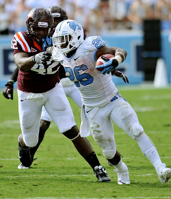 After redshirting his freshman season due to a torn ACL, Giovani Bernard dominated the ACC the past two seasons. With 2,481 yards rushing and 25 touchdowns along with another 852 yards and six scores receiving, Bernard is a top-tier running back in an otherwise weak year for the position.