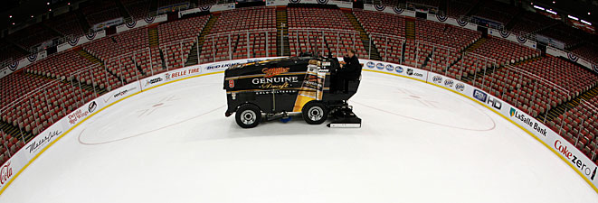 Famed Zamboni driver Al Sobotka tended to Joe Louis Arena while waiting for the Red Wings to return.