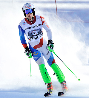 Carlo Janka, who won the race in 2010, had the fastest time during the super-combined event.