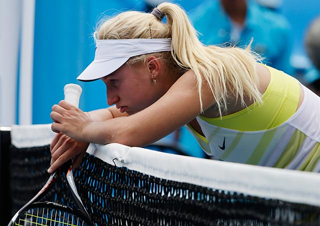 Net loss: Daria Gavrilova appears to be a tad forlorn after her second round defeat by Lesia Tsurenko.