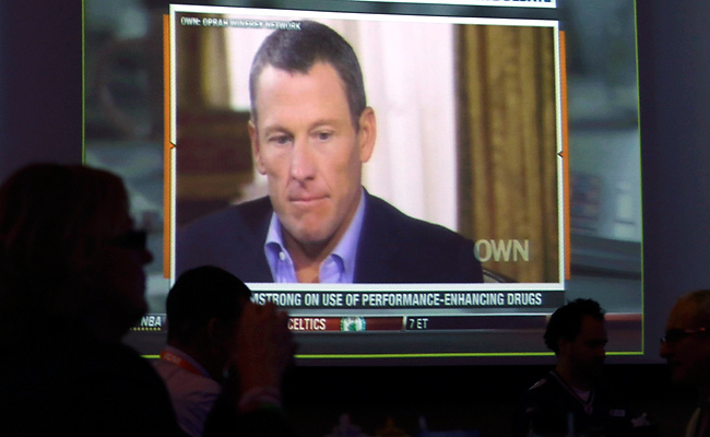 Lance Armstrong choked up when he recalled having to explain to his children that he had been lying.