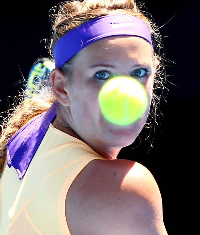 No. 1 Victoria Azarenka got past American Jamie Hampton 6-4, 4-6, 6-2 to reach the round of 16.