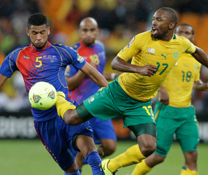 Cae Verde's Bernard Parker and South Africa's 'Babanco' Macedovie for the ball in Saturday's match.