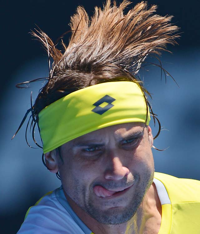 No. 4 David Ferrer beat No. 16 Kei Nishikori 6-2, 6-1, 6-4 in the fourth round Sunday.