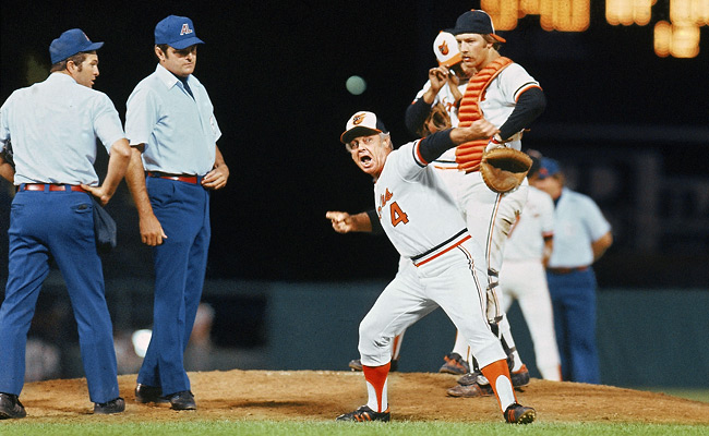 Earl Weaver led Baltimore to the World Series four times in 17 seasons but won only one title, in 1970.