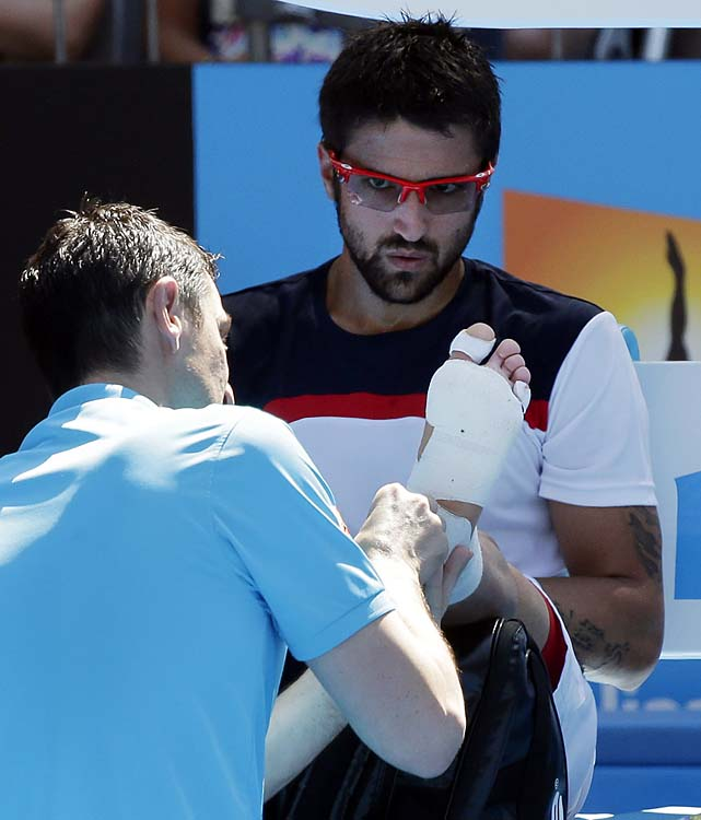 Tipsarevic retired with a left foot injury.