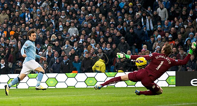 The Spaniard, David Silva, scored both goals in Manchester City's 2-0 home victory over Fulham.