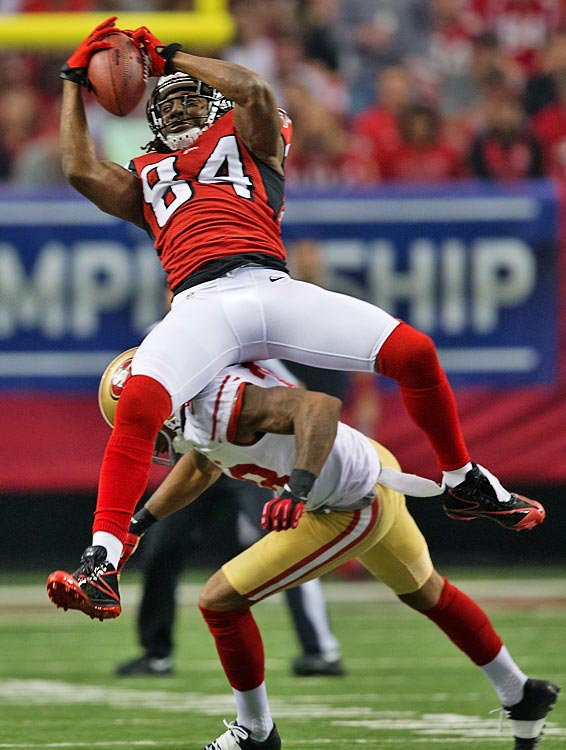 Roddy White's longest catch of the day was for 23 yards.