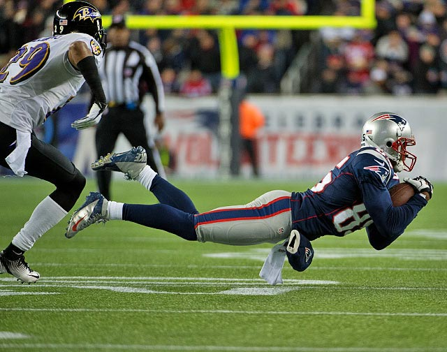 Brandon Lloyd had 70 yards receiving but no touchdowns against the Ravens. Brady attempted 54 passes and completed 29.