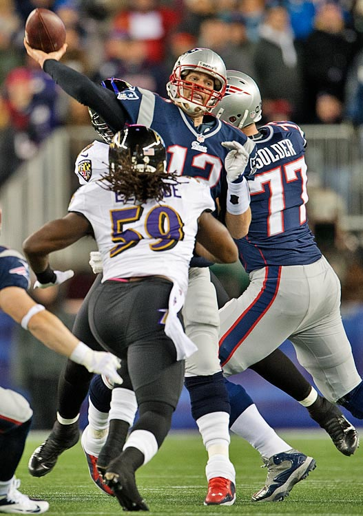 The Ravens came up with two interceptions against Brady, who has now thrown 10 in his career against Baltimore, against just eight touchdowns.