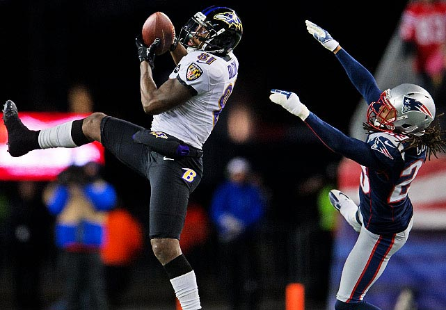 Two of Boldin's five catches were for touchdowns. His second one put Baltimore up 28-13.