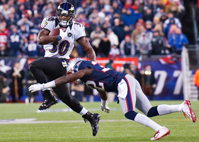 Bernard Pierce and Ray Rice combined for 100 yards rushing against New England.