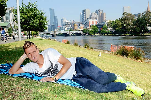 No. 5 Tomas Berdych spends his off day chilling along the Yarra River. Berdych faces No. 1 Novak Djokovic in the quarterfinals Tuesday.