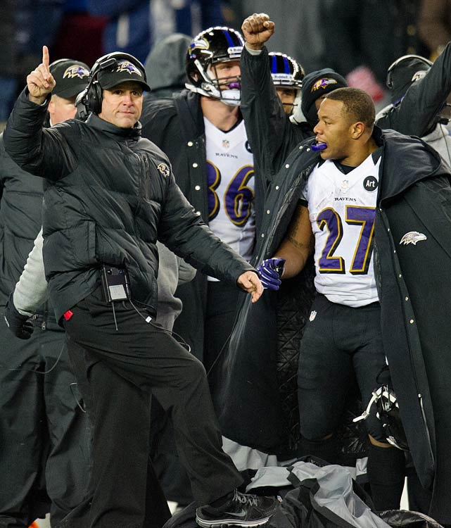 Coach John Harbaugh and Ray Rice could sense midway through the fourth quarter that they weren't going to experience a second consecutive AFC title game loss in Foxboro.