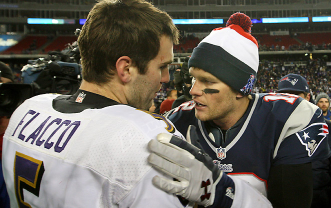 Joe Flacco went 2-0 against Tom Brady this season, and on Sunday ended Brady's 67-game unbeaten streak when leading at halftime in Foxboro.