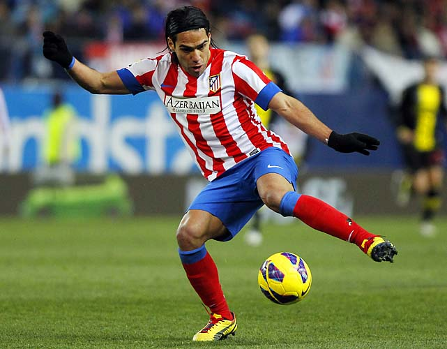 Radamel Falcao is tied for second in La Liga with 18 goals, behind Lionel Messi's 29.