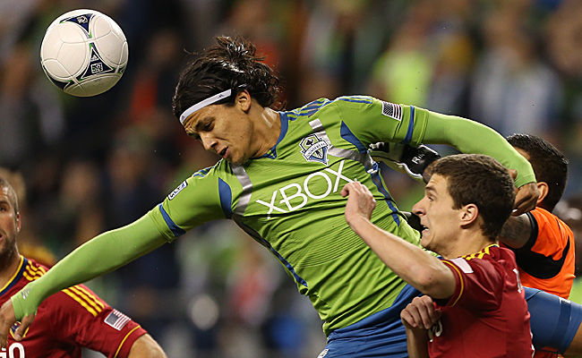 Fredy Montero (center) is the most prolific goal scorer in the Sounders' brief history.
