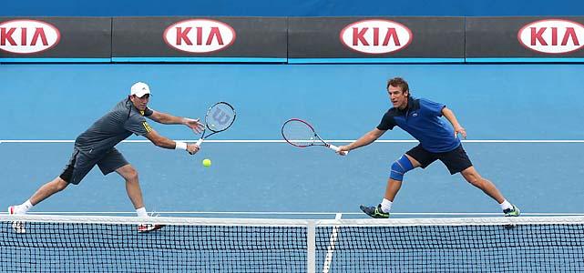 Darren Cahill (left) and Mats Wilander play men's legends doubles.