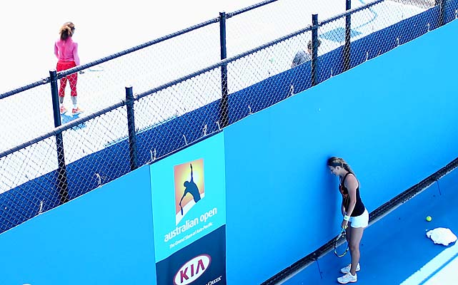 Serena Williams (top) and Victoria Azarenka practice ahead of their Wednesday quarterfinals. They could meet in the semis.