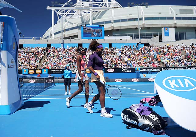 No. 12 Venus and Serena Williams were upset by No. 1 Sara Errani and Roberta Vinci 3-6, 7-6 (1), 7-5 in the doubles quarterfinals.