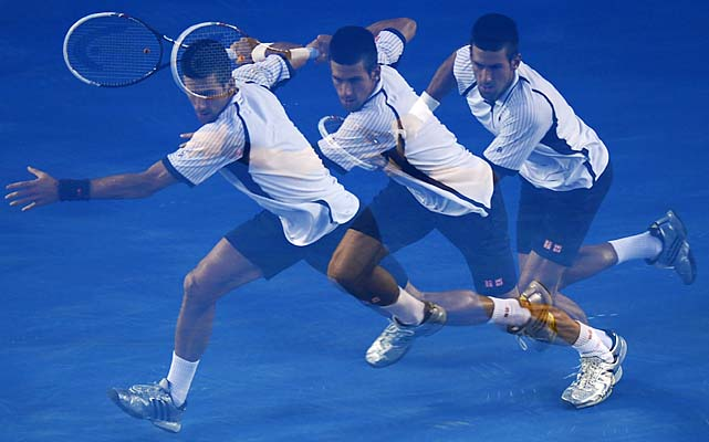 No. 1 Novak Djokovic beat No. 5 Tomas Berdych 6-1, 4-6, 6-1, 6-4. He'll play Ferrer next.