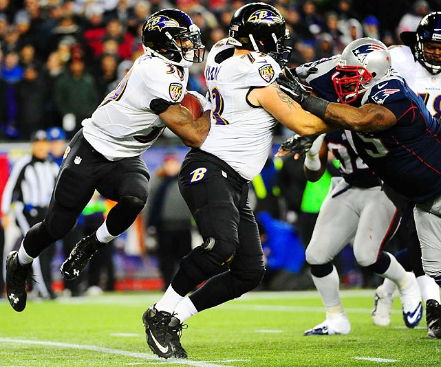 Baltimore Ravens running back Bernard Pierce runs into the back of his blocker, guard Marshal Yanda, in Baltimore's 28-13 win over the New England Patriots in the AFC Championship Game. Pierce carried the ground game for the Ravens, making up for a stifled Ray Rice with a team-high 52 yards on nine rushes.