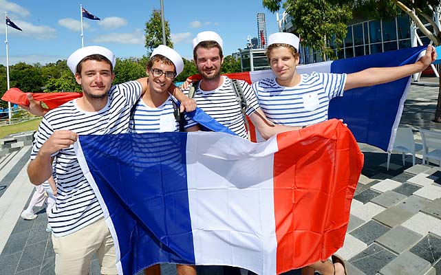 French fans show up to root for either Jeremy Chardy or Jo-Wilfried Tsonga, or both.