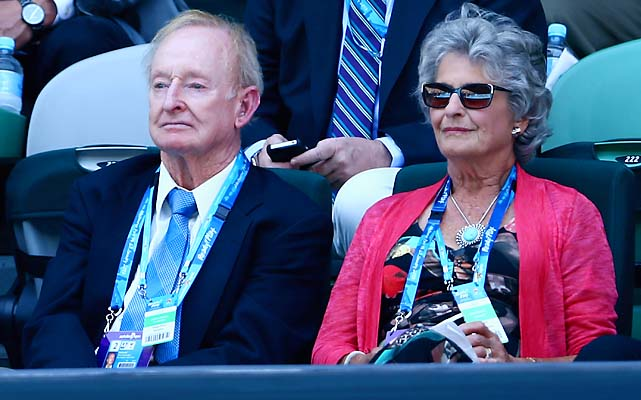 Three-time Australian Open champion Rod Laver watches the action at Rod Laver Arena.