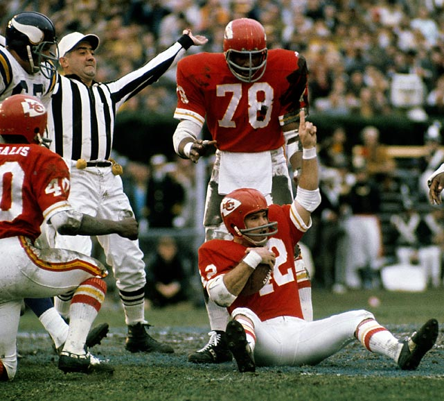 Kansas City Chiefs defensive back Johnny Robinson celebrates after recovering John Henderson's fumble in the second quarter of Super Bowl IV. The Chiefs defense, running a 3-4 scheme unfamiliar to the Minnesota Vikings in the NFL, forced five turnovers to lead Kansas City to a 23-7 victory.