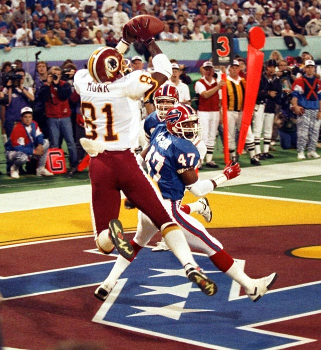 Art Monk appears to catch a touchdown pass over the head of Buffalo Bills cornerback Kirby Jackson. Although the play was ruled a touchdown on the field, a video review overturned the call when replay revealed the Washington Redskins wide receiver's foot landed out of bounds. It was the first time a touchdown was overturned by instant replay in a Super Bowl, although the Redskins went on to win 37-24.