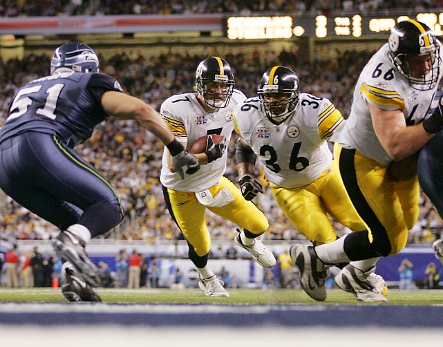 Ben Roethlisberger follows the block of running back Jerome Bettis for a one-yard touchdown run in the second quarter. The Steelers quarterback tossed two interceptions and didn't throw a touchdown, but Pittsburgh defeated the Seattle Seahawks 21-10.