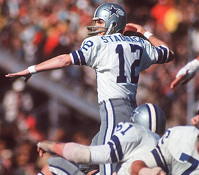 Dallas Cowboys quarterback Roger Staubach stares down the Miami Dolphins defense and looks for an open receiver. Staubach was named Super Bowl MVP after completing 12 of 19 passes for 119 yards and two touchdowns in the 24-3 win.