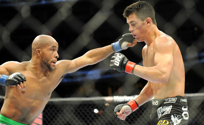 Demetrious Johnson (left) was defeated by Dominick Cruz in Dec. 2011, Johnson's last loss.