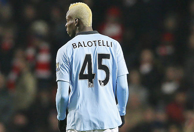 Mario Balotelli and Manchester City are in second place in the Premier League behind United.