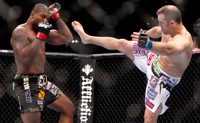 Quinton Jackson won a unanimous decision against Matt Hamill (right) in 2011 but has since gone 0-2.
