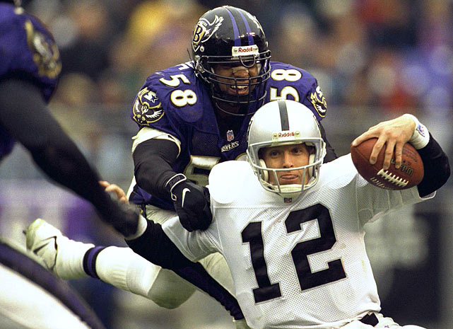 The tenacious linebacker joined the Ravens in 1997 and constantly put pressure on opposition QBs during his nine-year career. He still holds the all-time sack record for the franchise at 70, and led the AFC with 15 in 2001. After football, he ran as a Republican candidate for the Florida House of Representatives in 2008.